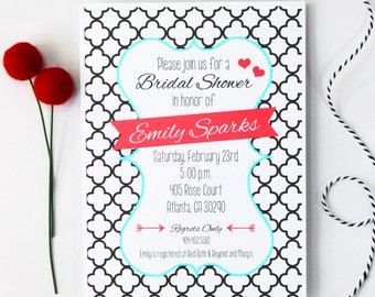 Wedding Shower Invitation Printable Custom Digital Bridal Shower Invite Couples Shower Black White Turquoise Luncheon Invitation Download