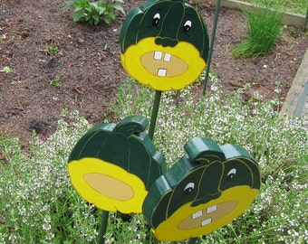 ACORN SQUASH - Double sided Wooden Garden Personality Plant Marker -Gift for the gardener