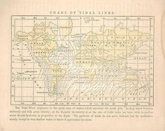 Antique 1854 WORLD MAP, hand painted atlas chart illustration ephemera print bookplate color wall decor