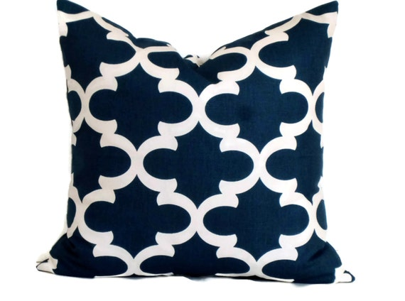 Navy Blue Decorative Bed Pillows: Navy Blue Moroccan Trellis Decorative Pillow By