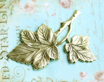 Leaf stamping, Antique gold, two leaves, brass stamping, leaf pendant, leaf charm, 45mm - 1Pc - F083