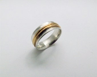 Silver & Brass Spinner Ring - Handcrafted Mixed Metal Ring - Silver Worry Ring