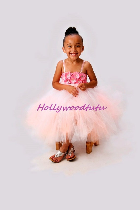 pink hydrangea flower girl  tutu dress
