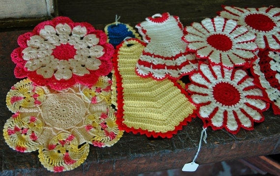 Reduced: Vintage 10 Assorted CROCHET, DOILIES, Hot PADS - Mitts, Multi-Color Pink Red & White Great Condition HandMade Ca 1940-50s, 3.00 ea!