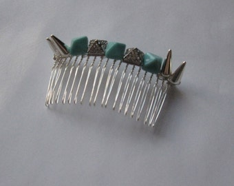 Turquoise Blue Silver Crystal Pyramid Spike Metal Comb, for weddings, bridesmaid, parties, special occasions