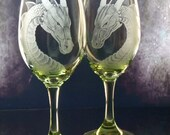 Custom wine glasses Lime green  turquoise or purple dragon engraved wine glass set of two , etched wine glass