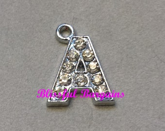 Dangle Charm Crystal Pave Silver Initial Letter A