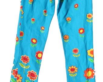 High Waist Jeans - Floral Denim - Printed Trousers -Hippie Pants