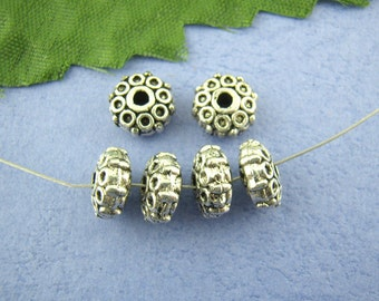 Silver Spacer Beads - Antique Silver - Dotted Pattern - 3x8mm - 10pcs - Ships IMMEDIATELY  from California - B1046