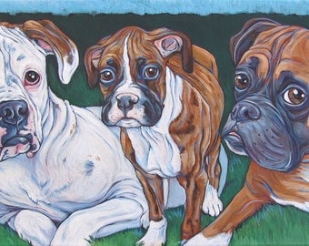 """10"""" x 20"""" Custom Pet Portrait Painting in Acrylic on ready to hang gallery Canvas of Three Dogs, Cats, Horses. Dog Lover Gift Pet Memorial"""