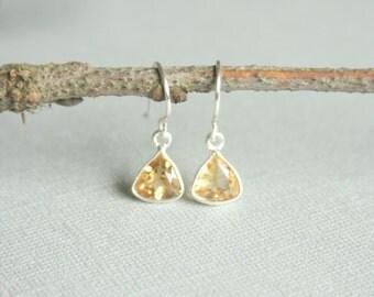 Citrine Bezel Earrings, Yellow Gemstone Earrings, Petite Earrings, November Birthstone