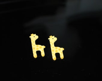 Giraffe Earrings -- Studs, Yellow Smiley Giraffes