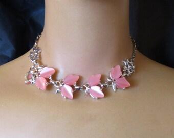 Vintage Silver tone Filigree Pink Leaf Plastic Thermoset Necklace Bracelet Earrings Pink Mad Men Jewelry set