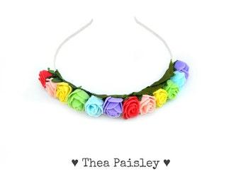 Flower Crown : Kawaii Pride Rainbow Rose / Pastel goth, Pastel grunge