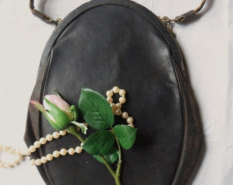 Antique Leather Purse, Black Leather Purse from the 20's