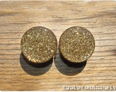Heart of Gold Glitter Plugs - 2g, 0g, 00g, 7/16, 1/2, 9/16, 5/8, 3/4, 7/8, 1 Inch