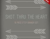 DIY Etsy Banner and Avatar Design Set - 10 Piece Shot Thru The Heart Arrow Premade Shop Set - Native American Etsy Shop Banner