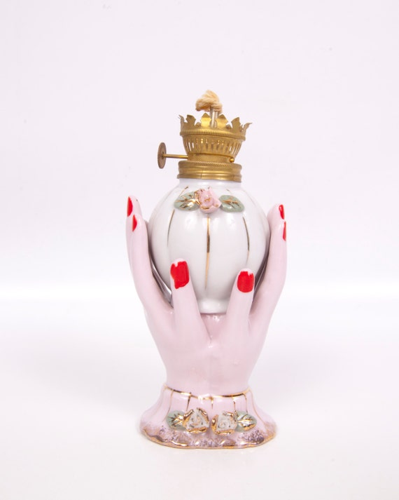 Vintage Porcelain Oil Lamp With Hands Hand Painted Pink Rose