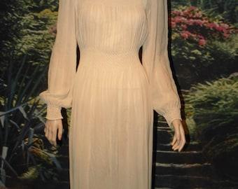 Dress Stunning Sheer Beige Crepe With Smocking on Yoke, Waist, Wrists Special Hemline Design - Wedding Dress - Elegant