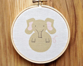 4 inch Hoop Art Elephant cute totem woodland animal nursery home decor