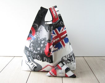 london underground style tote bag / urban bag / white print cotton / flag shopping bag / triangle folded bag / edge in black ribbon