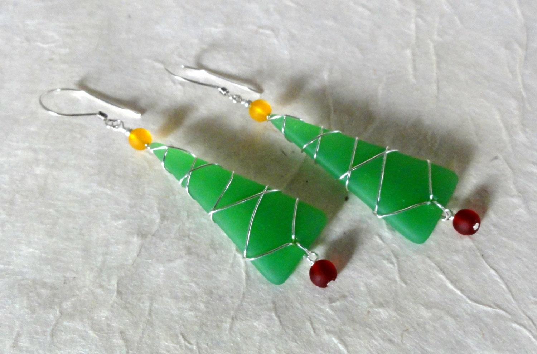Beach glass christmas tree earrings sea xmas