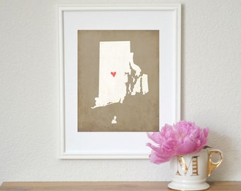 Rhode Island State Art Silhouette Map Personalized Print