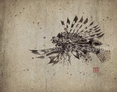 LIONFISH (Hanami No Kasago) Gyotaku print - traditional Japanese fish art Discounted & Discontinued