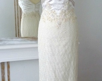 1980's evening and wedding embellished charleston flapper dress, satin, crochet, pearls and embroderies, white and cream, UK size 4/6