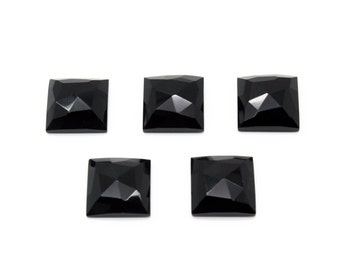 GCF-1057- Black Onyx Cabochon - Square 16x16mm - AA Quality - 1 Pc