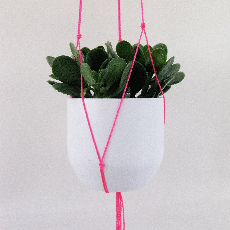 neon pink hanging plant holder. Black Bedroom Furniture Sets. Home Design Ideas