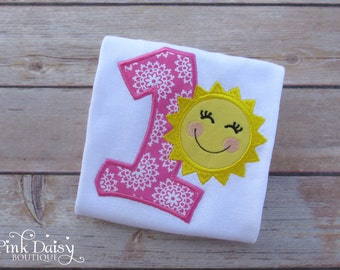 Birthday Shirt. Hot Pink and Yellow 'You Are My Sunshine' Birthday Shirt/Bodysuit. Embroidered Personalized Appliquéd Custom Birthday Outfit