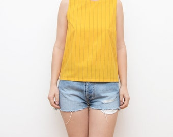 Vintage yellow vibrant striped women top with V cut back