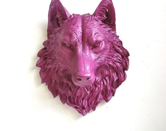 DEEP RASPBERRY Faux Taxidermy Large Wolf Head Wall Mount Wall Hanging Home Decor: Willem the Wolf in deep raspberry