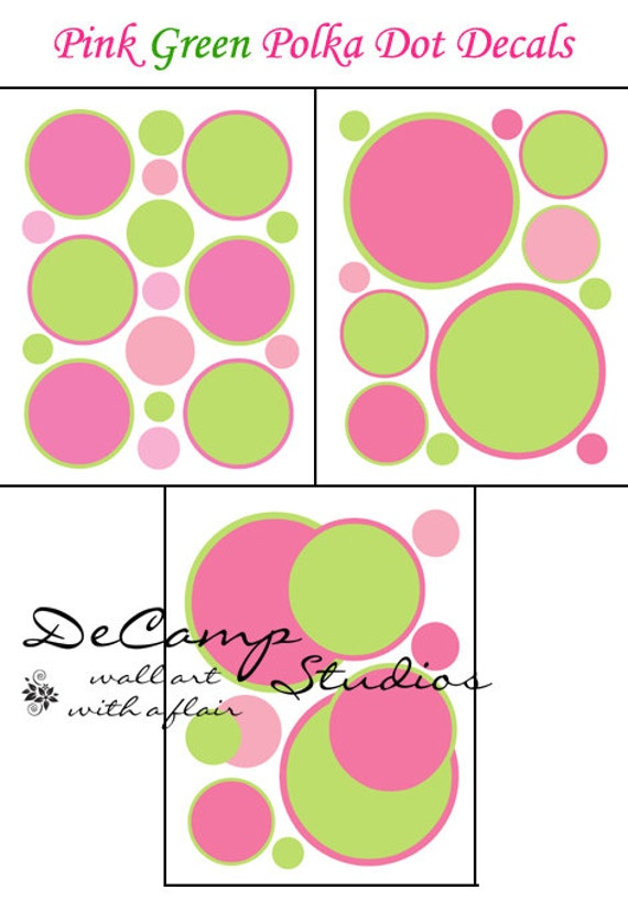 Polka dot decals pink green baby girl nursery wall decor kids for Pink and green kids room