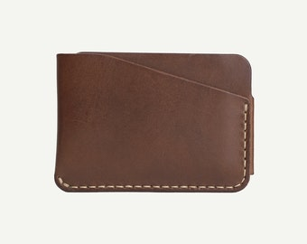 DHK GOODS 3-Pocket Card Wallet  - Brown vegetable tanned leather. Handmade leather card holder