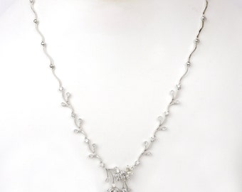Bridal Beautiful Diamond and Fresh Water Pearl Necklace