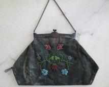Edwardian beaded handbag / 1910s velvet beaded purse
