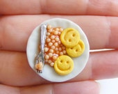 Food Jewelry Baked Beans and Smiley Faces Ring, Miniature Food Ring, Polymer clay food, Mini Food Jewellery, Beans Ring, Beans Jewelry Charm