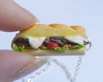 Food Jewelry, Hoagie Necklace, Sub Sandwich Necklace, Miniature Food, Mini Food jewelry, Baguette Necklace, Wedge, Hero, Hoagie Pendant