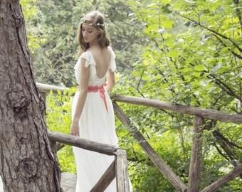 Open Back Wedding Dress, SuzannaM, Ivory Wedding Dress, Boho Bridal Gown, Gypsy Bridal Dress, Long Bridal Gown, Boho Wedding Dress, Laurence