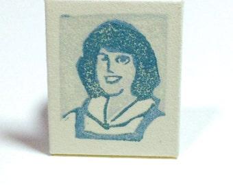Miniature Portrait, CHERYL PECK, HomeRoom, 1978, linoleum print, Original Artwork