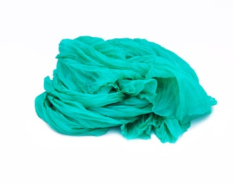 emerald silk scarf - Vivid Ocean  - emerald, green silk ruffled scarf.