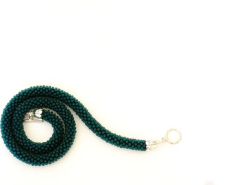 Dark Teal Necklace. Beaded  Rope Necklace. Teal Crocheted Choker.  Dark blue short necklace