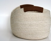 Cotton Cord Leather BASKET, one of a kind