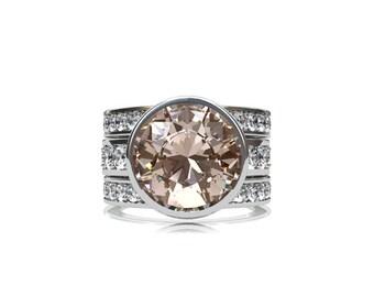 Engagement ring set, 3.42ct morganite ring, white sapphire, peach morganite, morganite engagement, wedding band, sapphire, white gold
