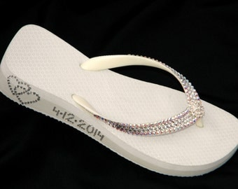 Wedding Flip Flops Personalized Glass Slippers w/ Swarovski Crystal Beach Havaianas Flat Cariris Wedge Double Heart Date Bling Bridal Shoe