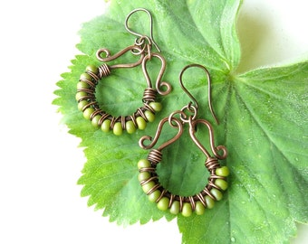 Lime beaded earrings - chartreuse green beads, copper wire wrapped hoops