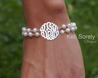 White Pearl Bracelet with Monogram Initials, Double String Freshwater Pearls - Sterling Silver, Yellow Gold or Rose Gold