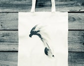 Eagle art tote bag, canvas grocery shopping bag, shoulder bag for him